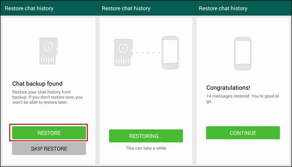 Herstel WhatApp vanaf back-up