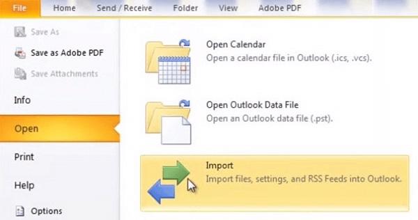 Seleziona Importa da Outlook