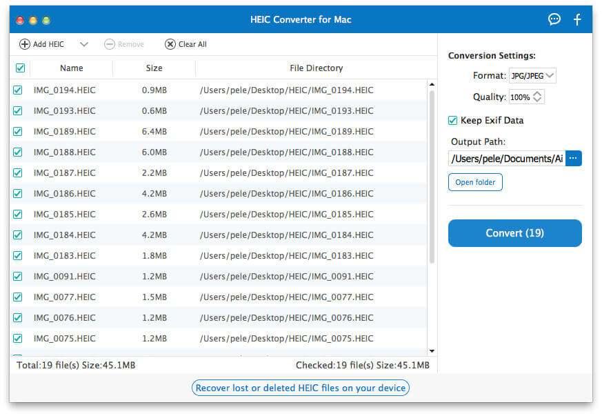 選擇HEIC文件