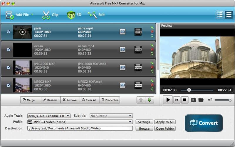 Aiseesoft Free MXF Converter for Mac full screenshot