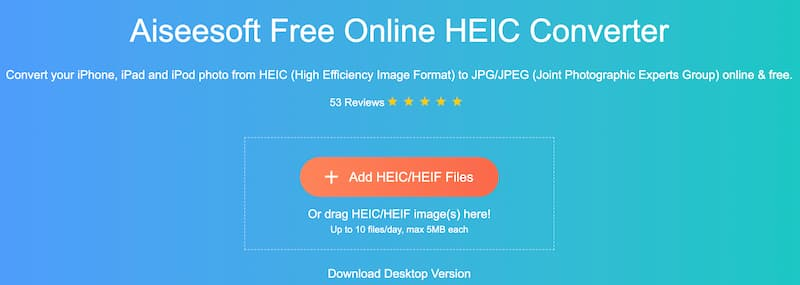 Aiseesoft Δωρεάν Online Μετατροπέας HEIC
