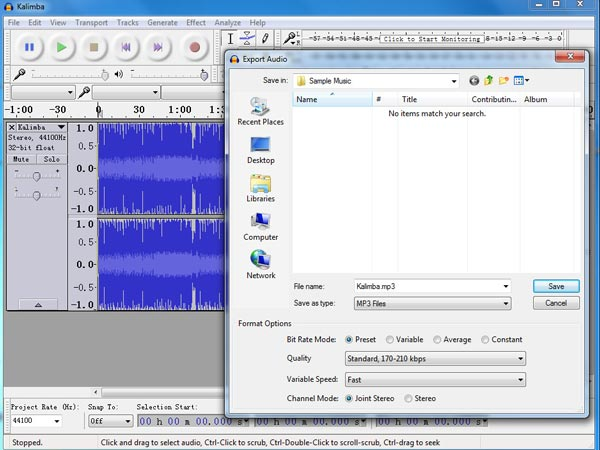 Audacity Audio to MP3