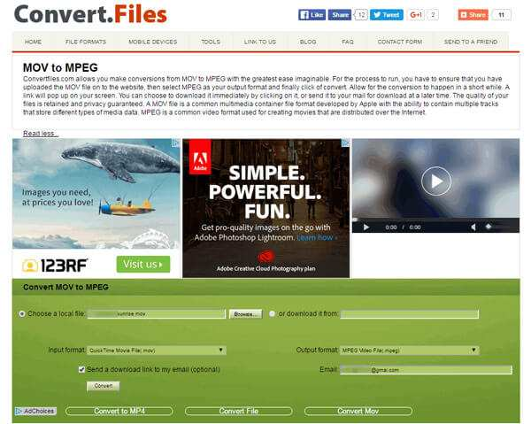Converti MOV in MPEG con convertfile