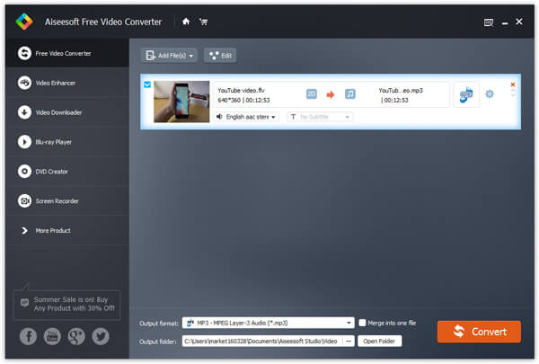 Converti YouTube in MP3 con Free Video Converter