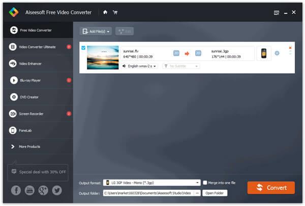Importa file video FLV