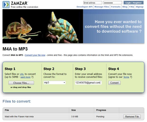 Convert M4A to MP3 on Zamzar