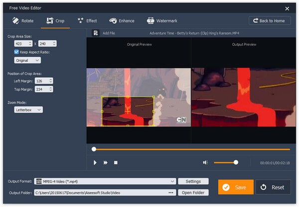 Ritaglia video con Editor video gratuito