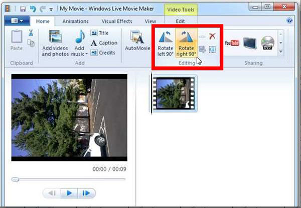 Ruota video con Windows Movie Maker