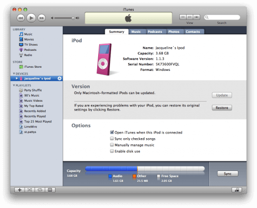 how to connect ipod to itunes on computer
