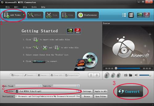 How  to convert MTS, TS, M2TS Video to HD video, MP4, WMV, AVI...... Screen