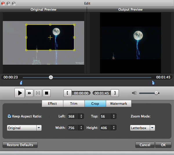 iPhone Video Converter for Mac - crop