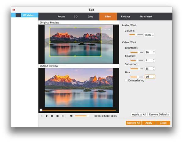 iPhone Video Converter for Mac - effect