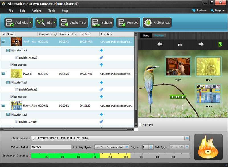 Aiseesoft HD to DVD Converter screenshot