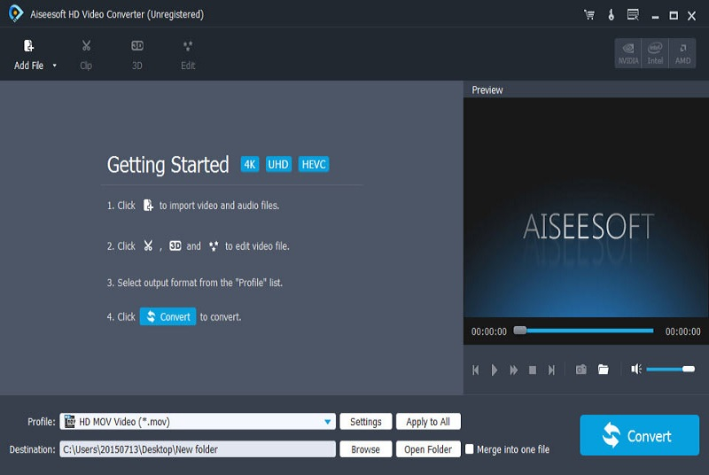 Aiseesoft HD Video Converter supports any high definition converting from 720p, 1080i, 1080p, 1440p to 2160p (4K) in high speed without any quality loss.