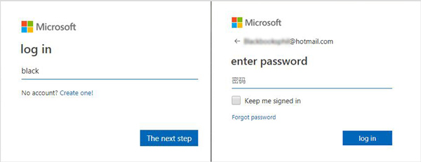 Enter Hotmail Account