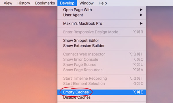 how to delete cache on mac safari