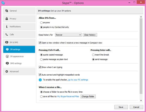 Smazat zprávy Skype