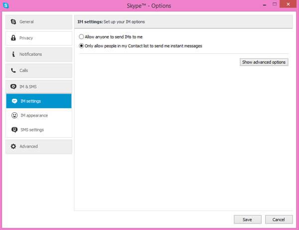 Možnosti Skype