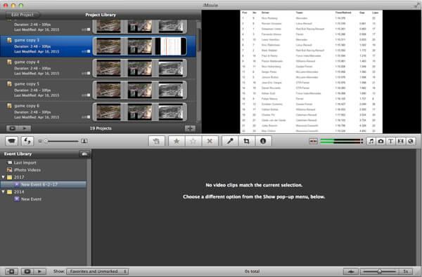 Edit Project on iMovie