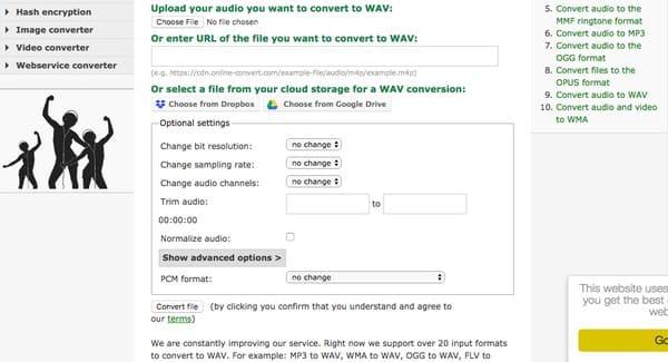 Converti aac in wav online gratuitamente