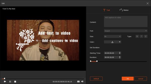 Aggiungi testo al video con Slideshow Creator