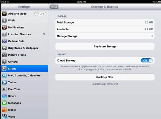 Zálohování iPadu na iCloud