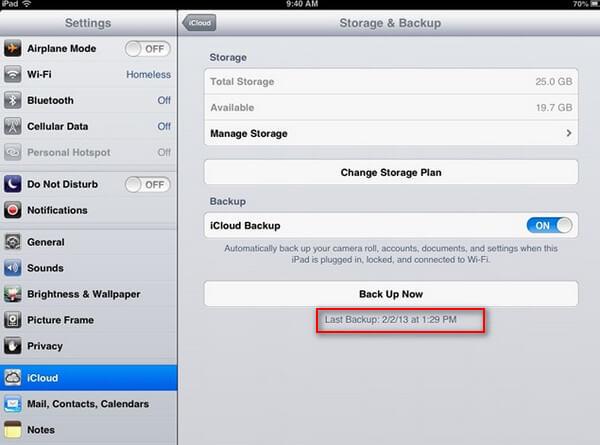 iCloud δημιουργίας αντιγράφων ασφαλείας