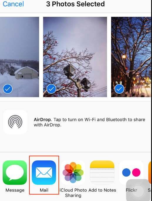Δημιουργία αντιγράφων ασφαλείας φωτογραφιών iPhone σε Mac με email