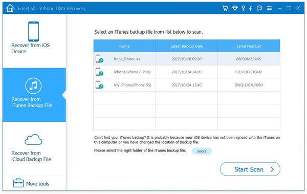 Συνδέστε τη συσκευή iOS για να ξεκινήσετε τη σάρωση και την ανάκτηση επιλεγμένων iMessages