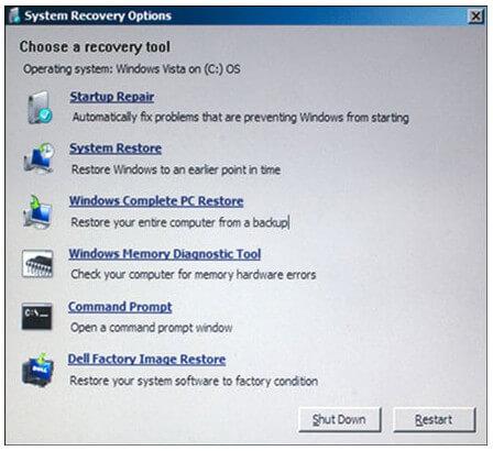 Modalità di ripristino di Windows 7