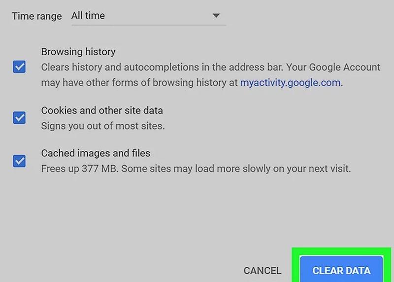 Chrome Cancella dati di navigazione
