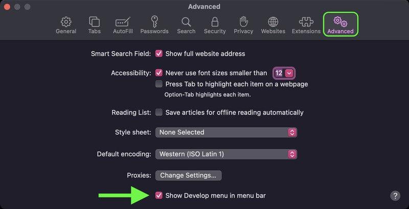 Cancella Safari Cache Avanzate Mostra menu Sviluppo