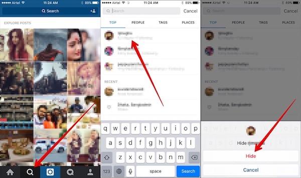 Nascondi la ricerca di Instagram