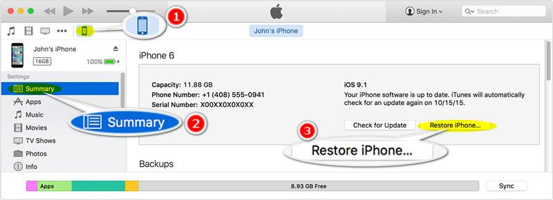 Obnovení nastavení iPhone na tovární nastavení