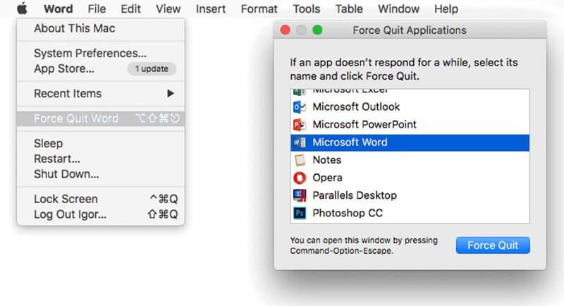 Chiudi un'app congelata con il menu Apple