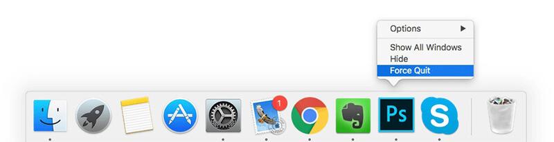 Chiudi un'app congelata dal pannello Dock di Mac