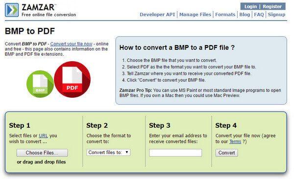 Zamzar bmp in pdf