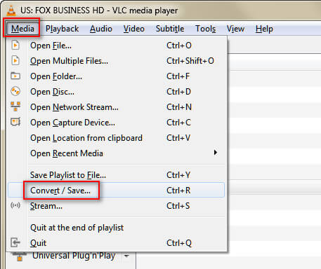 Seleziona Converti VLC