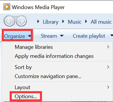 Organiseer opties