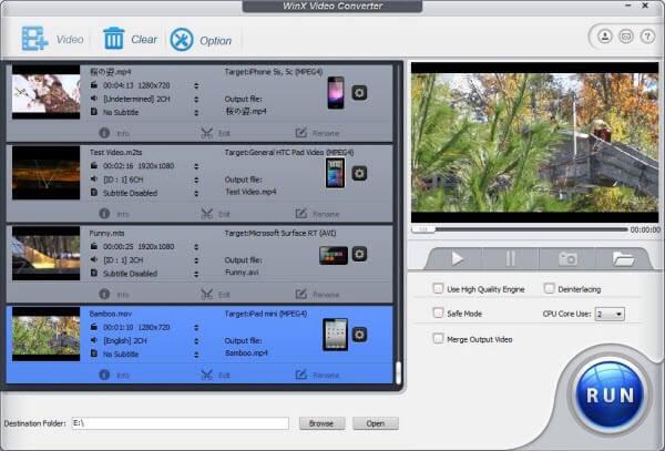 WinX zdarma MTS na AVI Converter