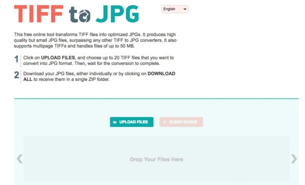 Converti Tiff in JPEG online gratuitamente