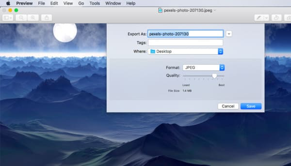 Converti Tiff in jpeg per Mac