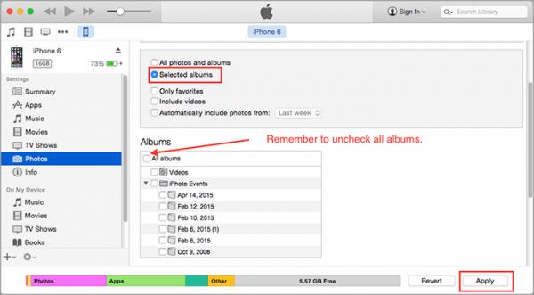 Odstranění alba iPhone přes iTunes