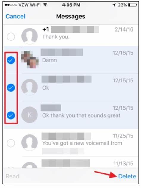 Διαγραφή πολλών φωνητικών μηνυμάτων