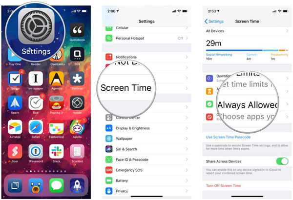 iOS Settings Screen Time Always Allowed