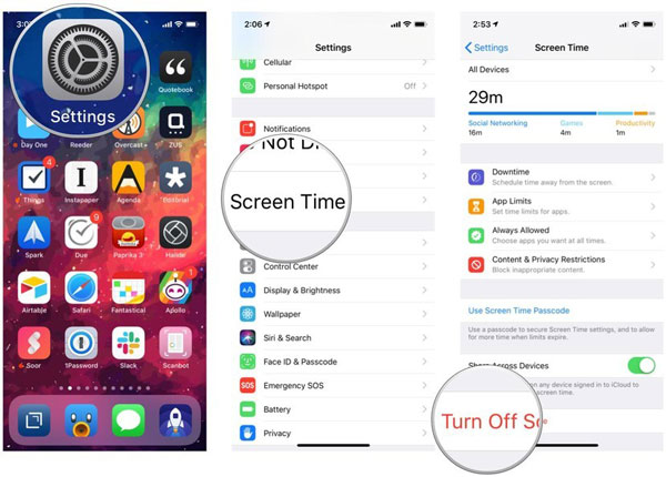 iOS Settings Screen Time Off