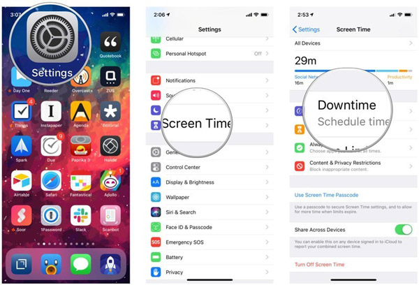iOS Settings Screentime Downtime