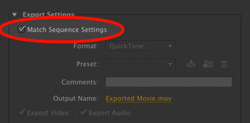 Export Sequence Settings