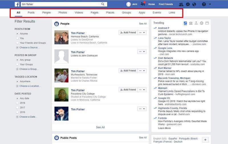 Facebook-filters