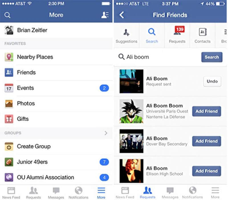 Search for People in Facebook App